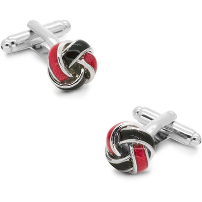 Silver Red and Black Knot Cufflinks Classic & Modern Cufflinks Clinks Australia Silver Red and Black Knot Cufflinks