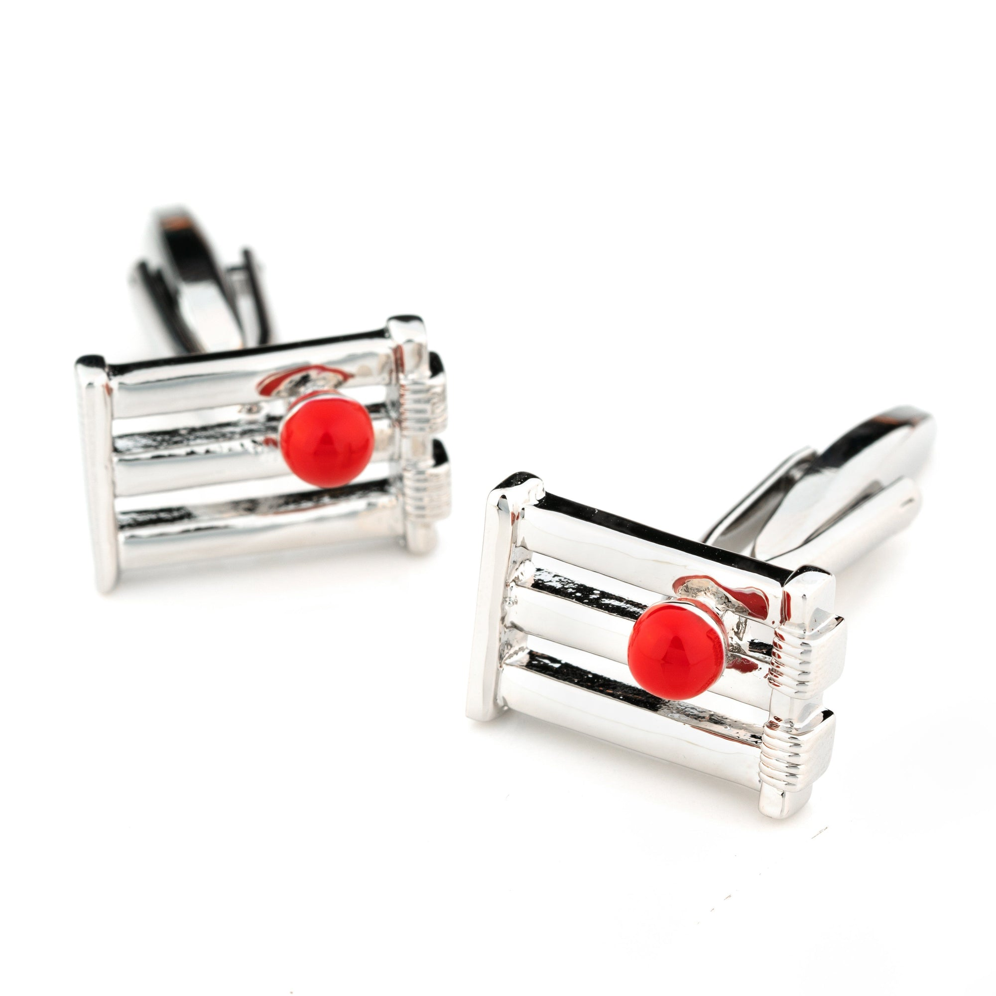 Cricket Wicket and Red Ball Cufflinks, Novelty Cufflinks, Cuffed.com.au, CL4023, Sports, Clinks Australia
