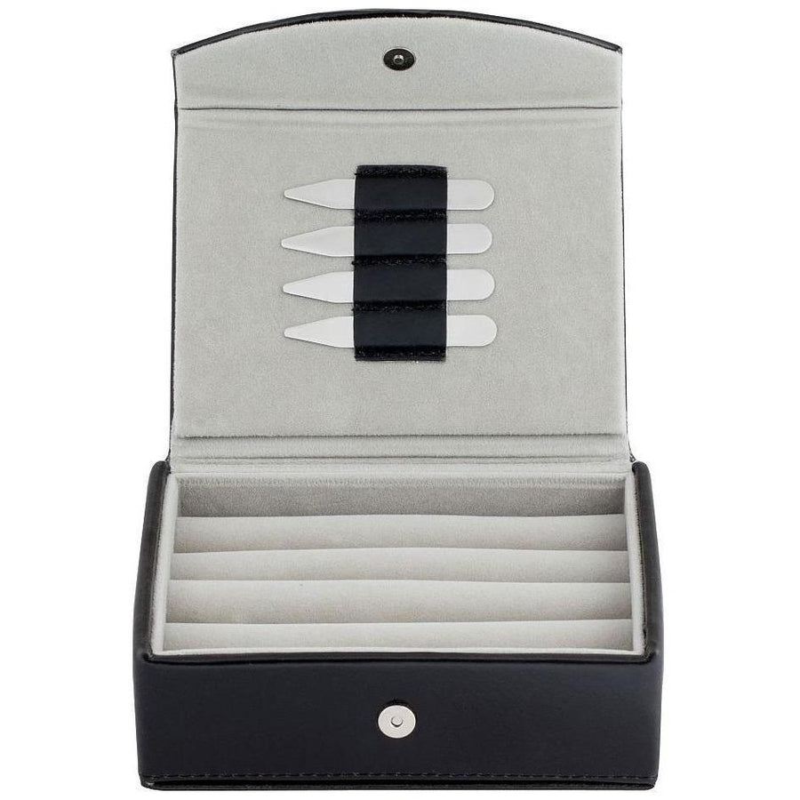 Small Black Leathette Cufflink Box With Collar Stays Clinks Australia