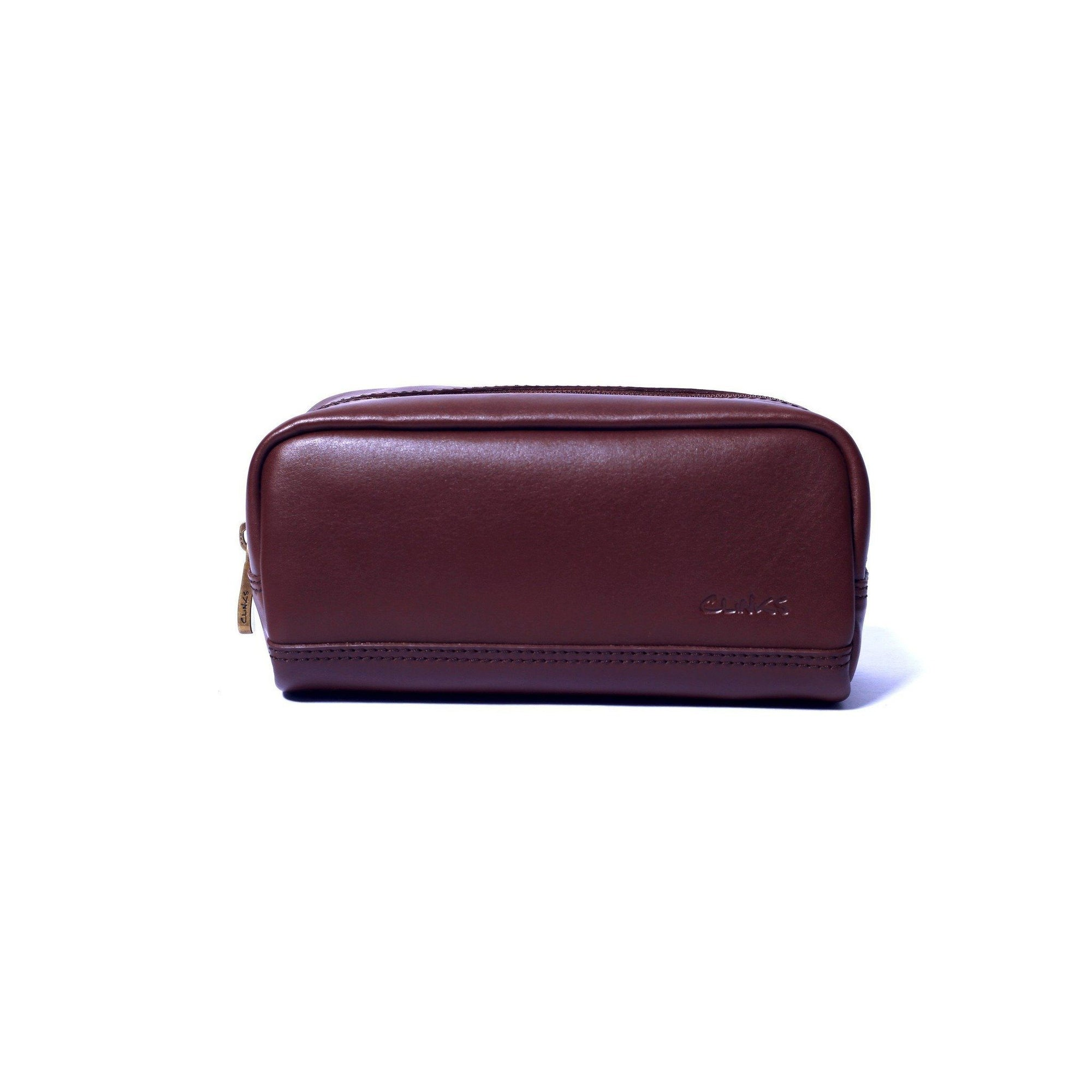 Small Leather Toiletry Bag in Dark Cognac Clinks Australia