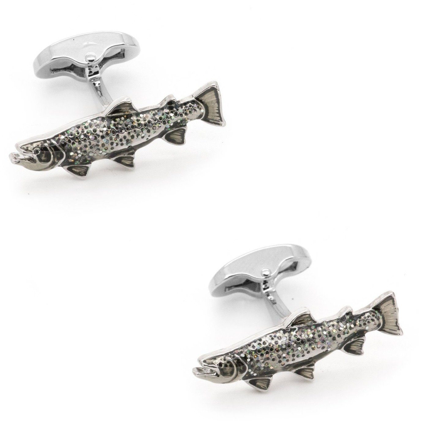Sparkle Scaled Rainbow Trout Fish Cufflinks, Novelty Cufflinks, Cuffed.com.au, CL7101, $29.00