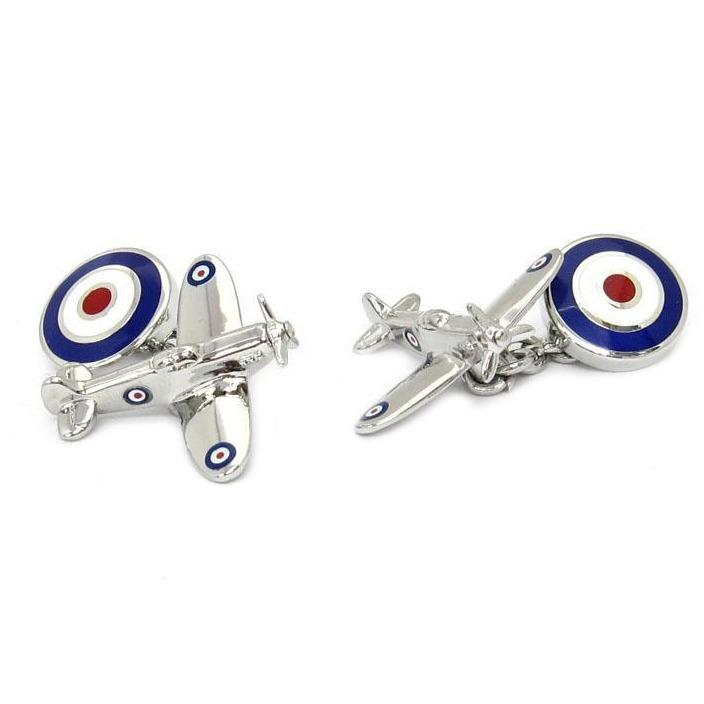 Spitfire Plane Cufflinks with Chain and Roundel Clinks Australia