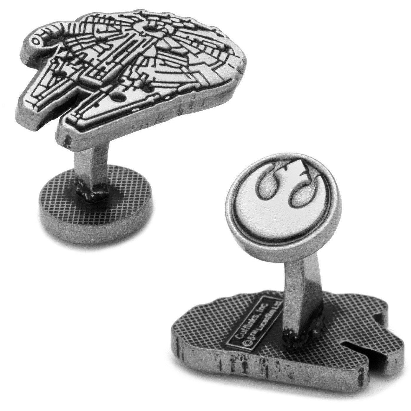 Star Wars Millennium Falcon Silver Cufflinks, Novelty Cufflinks, Cuffed.com.au, CL5897, $69.00