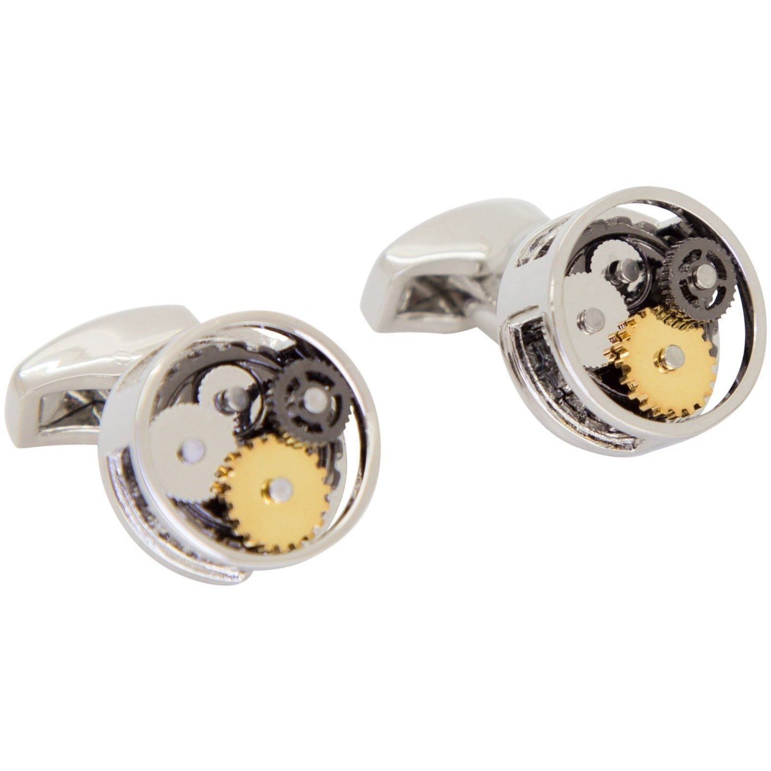 Steampunk Gear Cufflinks in Round Silver, Novelty Cufflinks, Cuffed.com.au, CL5572, $49.00