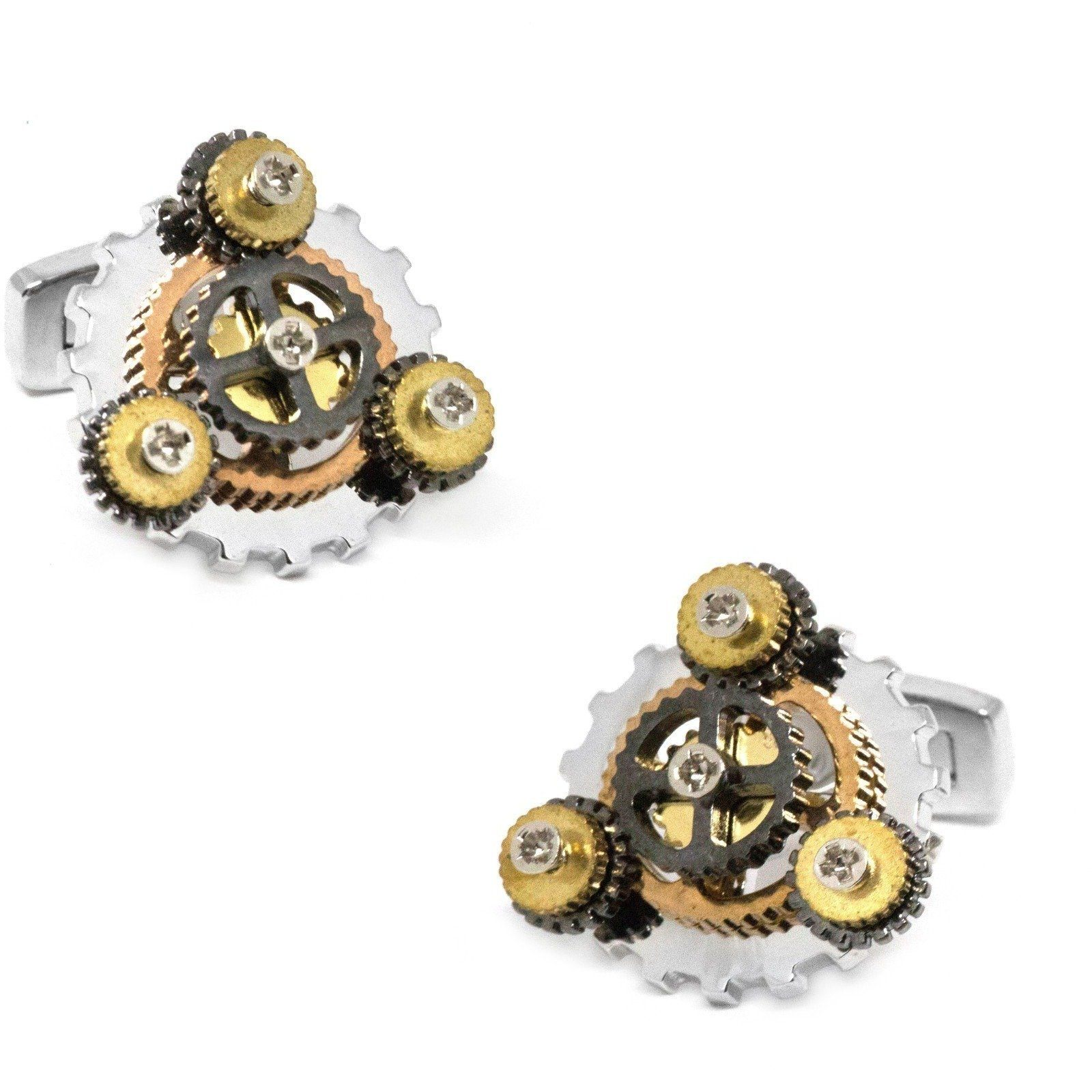 Steampunk Spinning Gear Cog Cufflinks in Multi Colour, Novelty Cufflinks, Cuffed.com.au, CL5574, $29.00