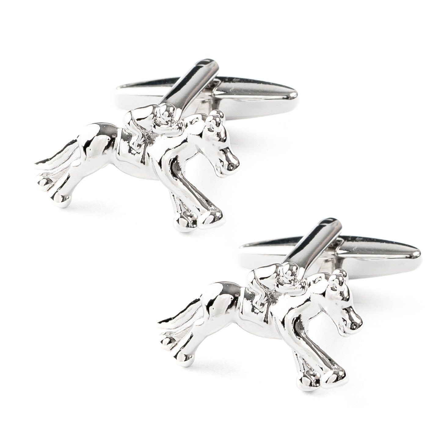 """Melbourne Cup"" Horse Racing Silver Cufflinks, Novelty Cufflinks, Cuffed.com.au, CL6300, Animals, Gambling, Horses, Clinks Australia"