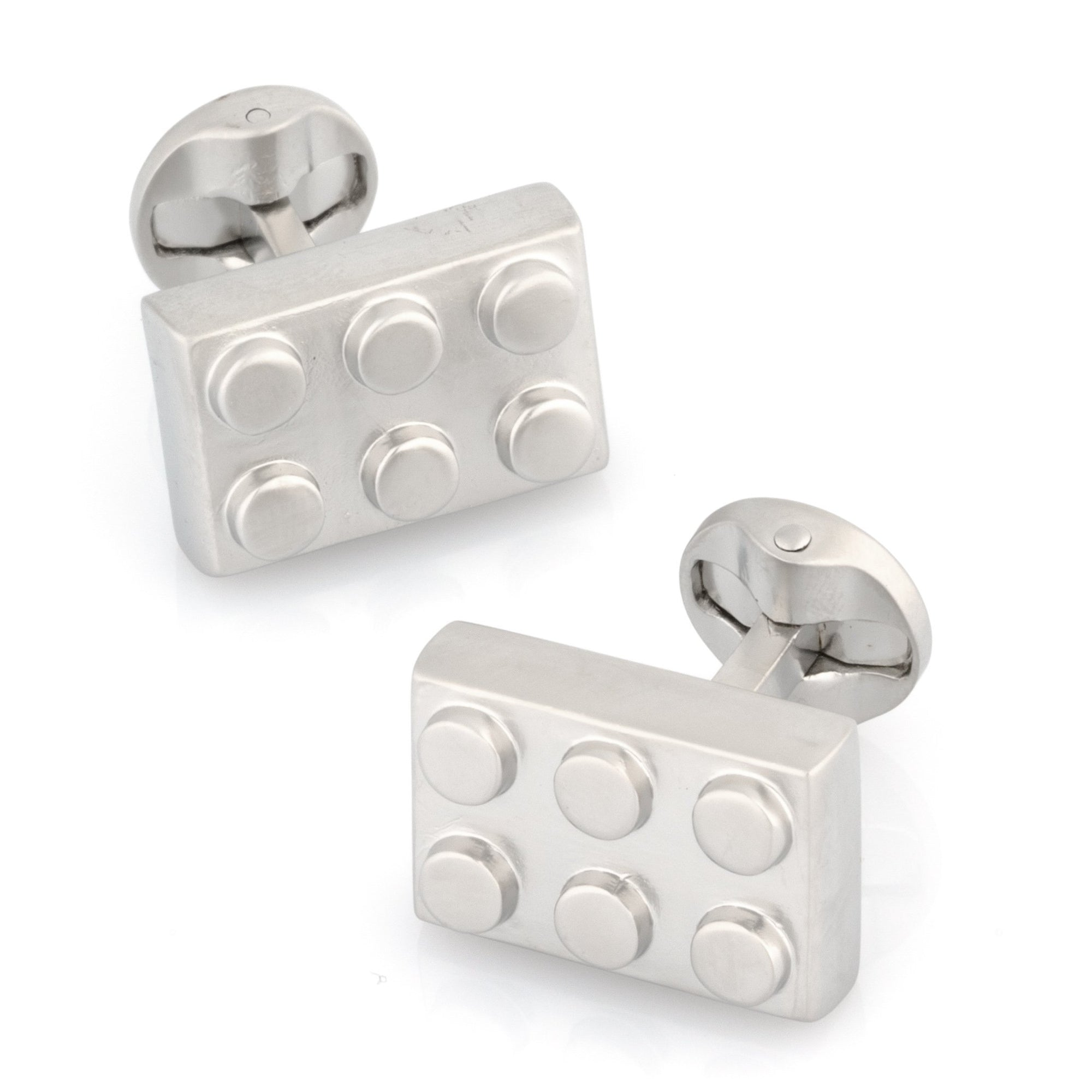 Silver Building Block Cufflinks, Novelty Cufflinks, Cuffed.com.au, CL8711, Games, Lego® Style Building Block Cufflinks, Silver, Clinks Australia