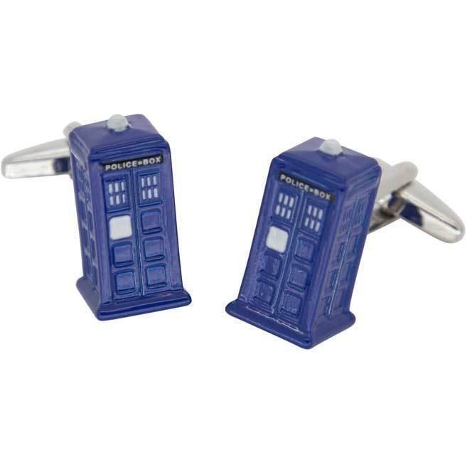 Tardis Style Police Box 3D Cufflinks, Novelty Cufflinks, Cuffed.com.au, CL5878, $29.00