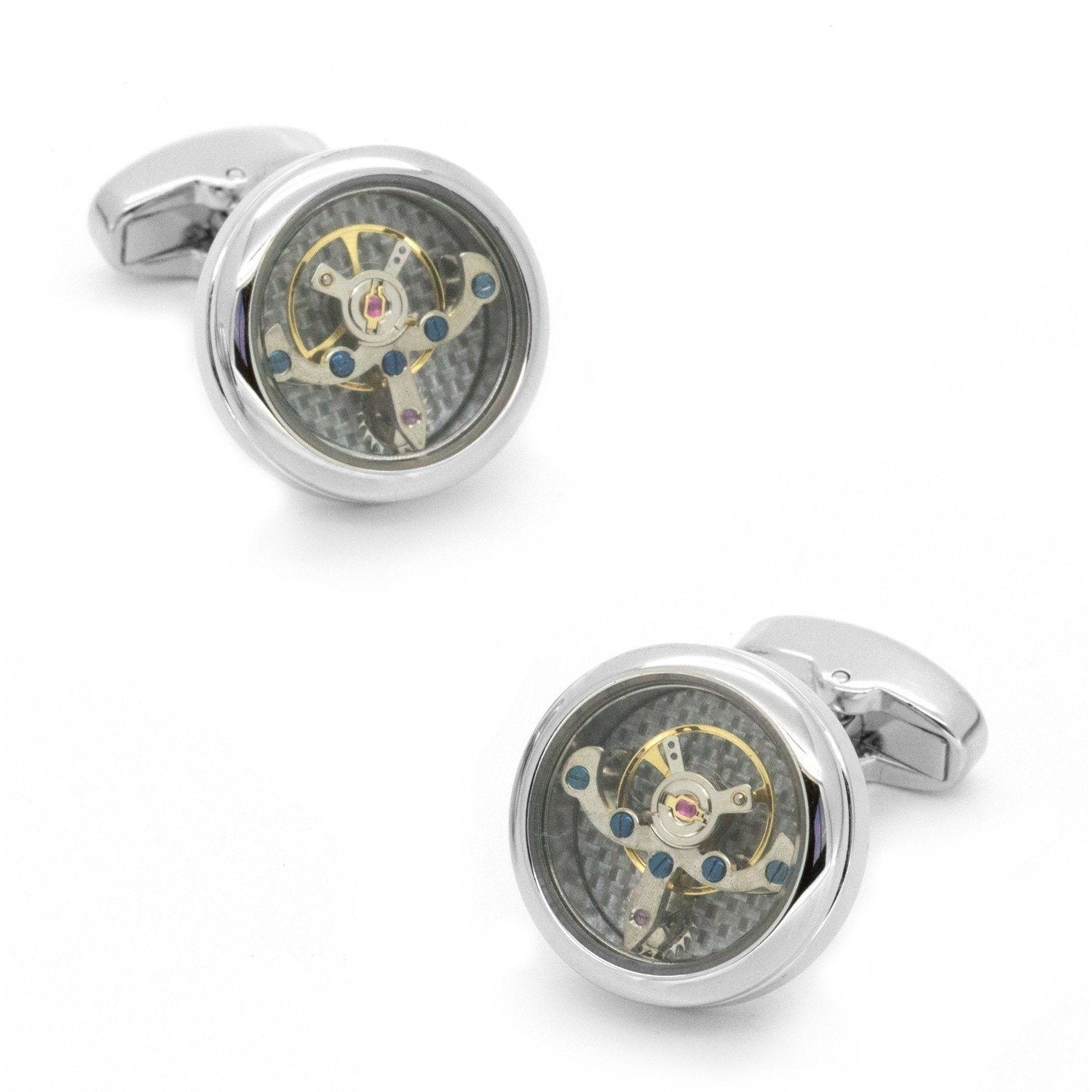 Tourbillon Watch Movement Cufflinks in Silver, Novelty Cufflinks, Cuffed.com.au, CL5580, $79.00