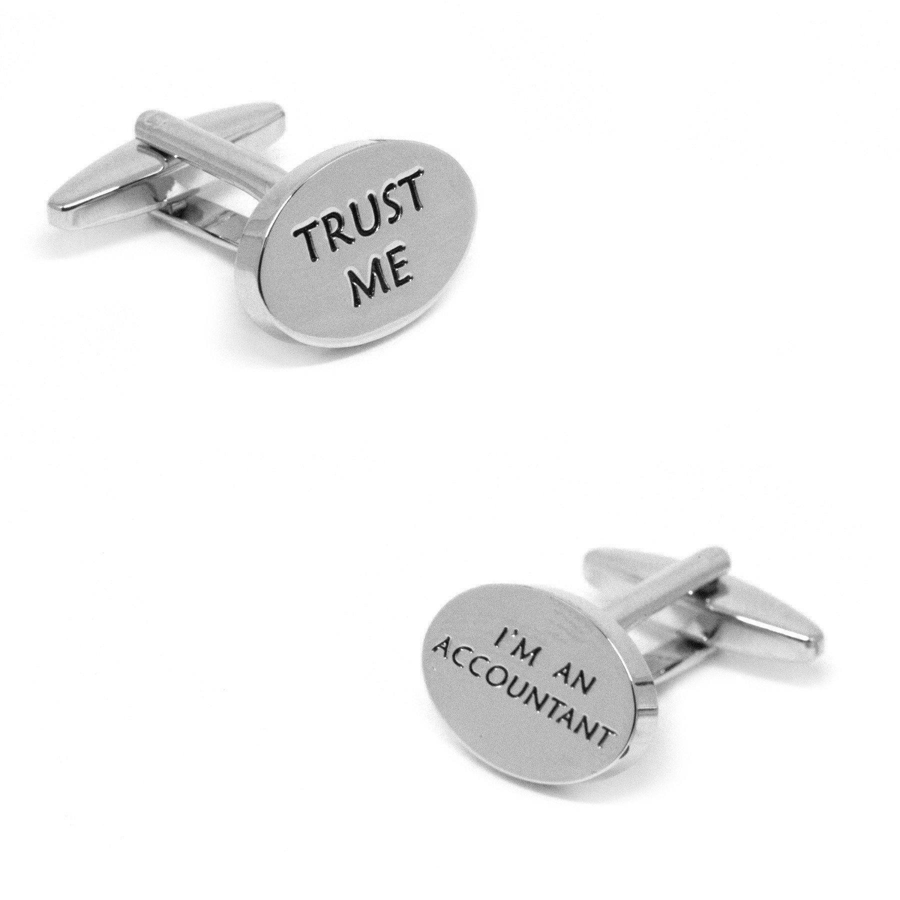 """Trust Me, I'm an Accountant"" Silver Cufflinks, Novelty Cufflinks, Cuffed.com.au, CL9121, $29.00"