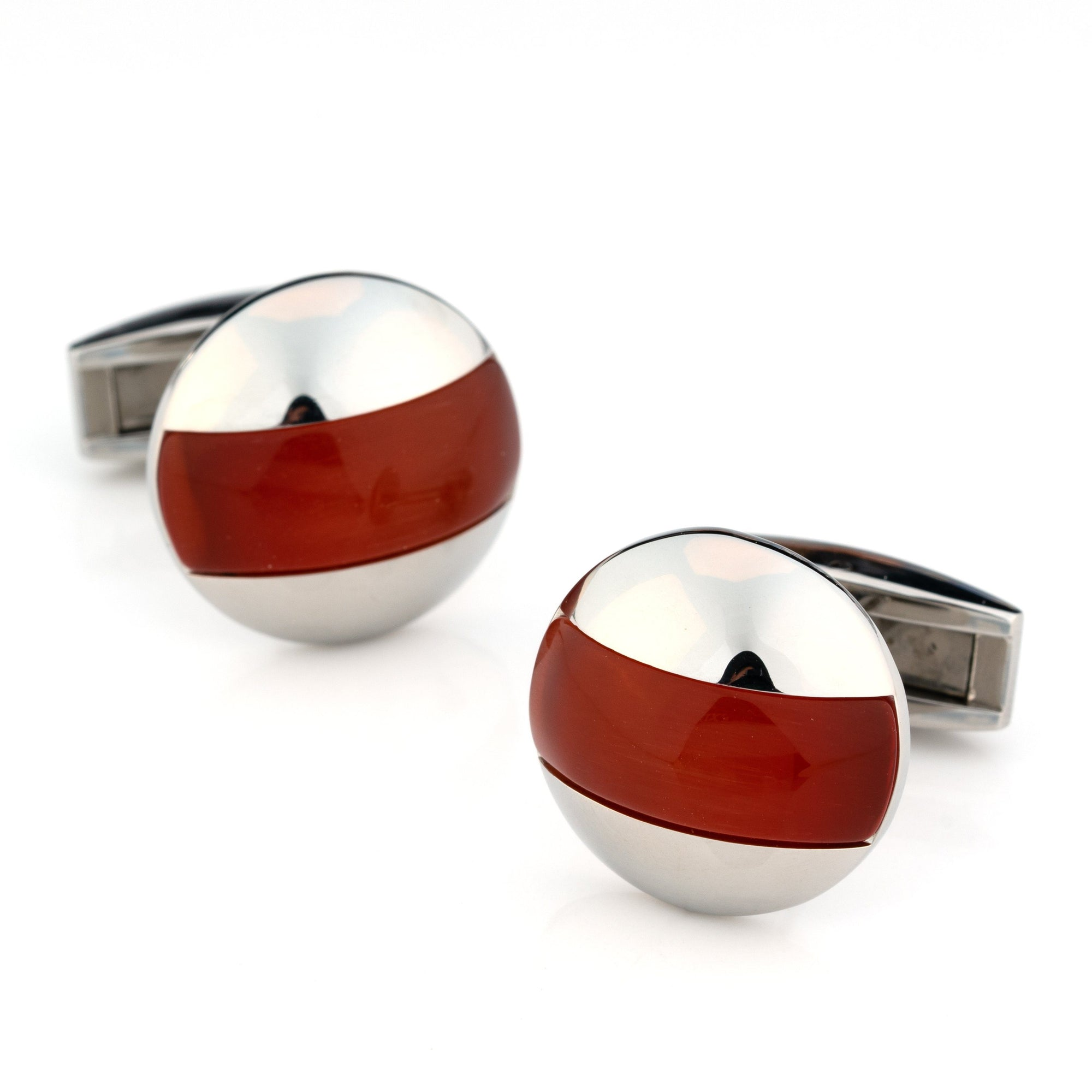 Elliptical Red Cat Eye Cufflinks Classic & Modern Cufflinks Clinks Australia