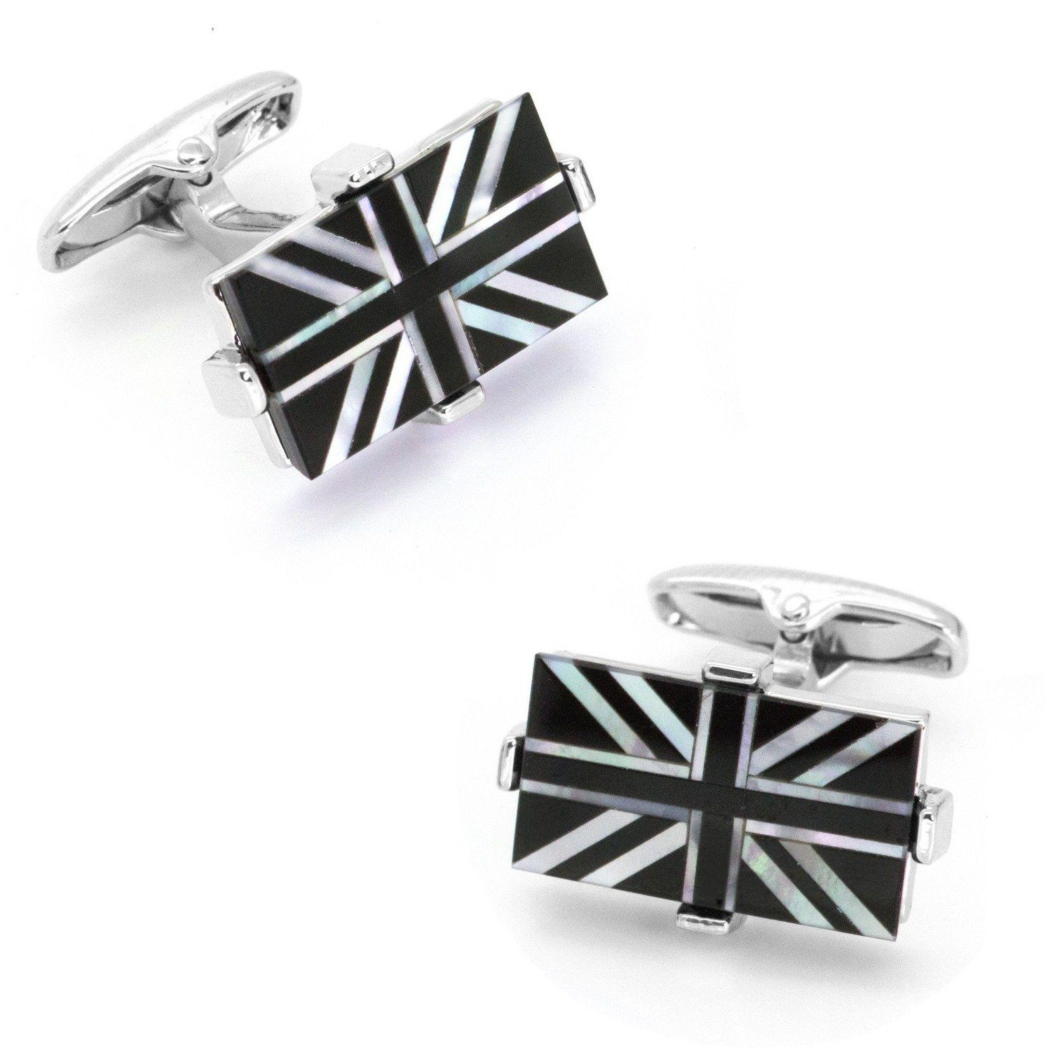 Union Jack - Flag of United Kingdom Cufflinks - Onyx & Mother of Pearl Novelty Cufflinks Clinks Australia