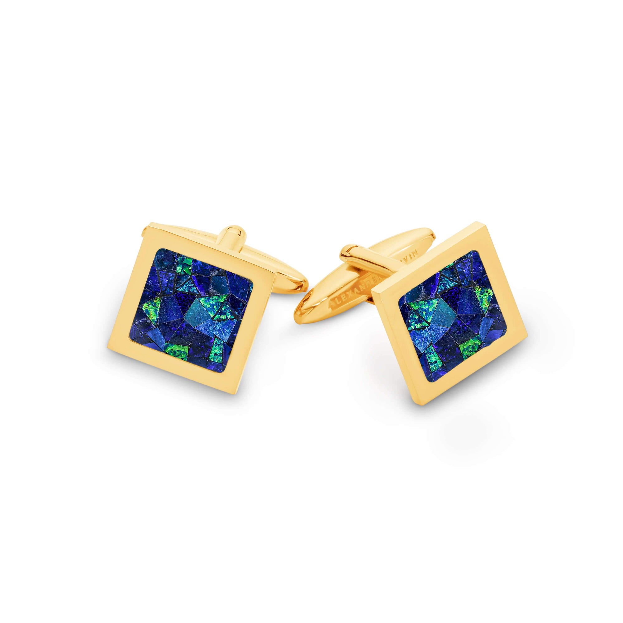 Square Premium Opal Cufflinks (Blue Yellow Gold) Classic & Modern Cufflinks Clinks Australia Default
