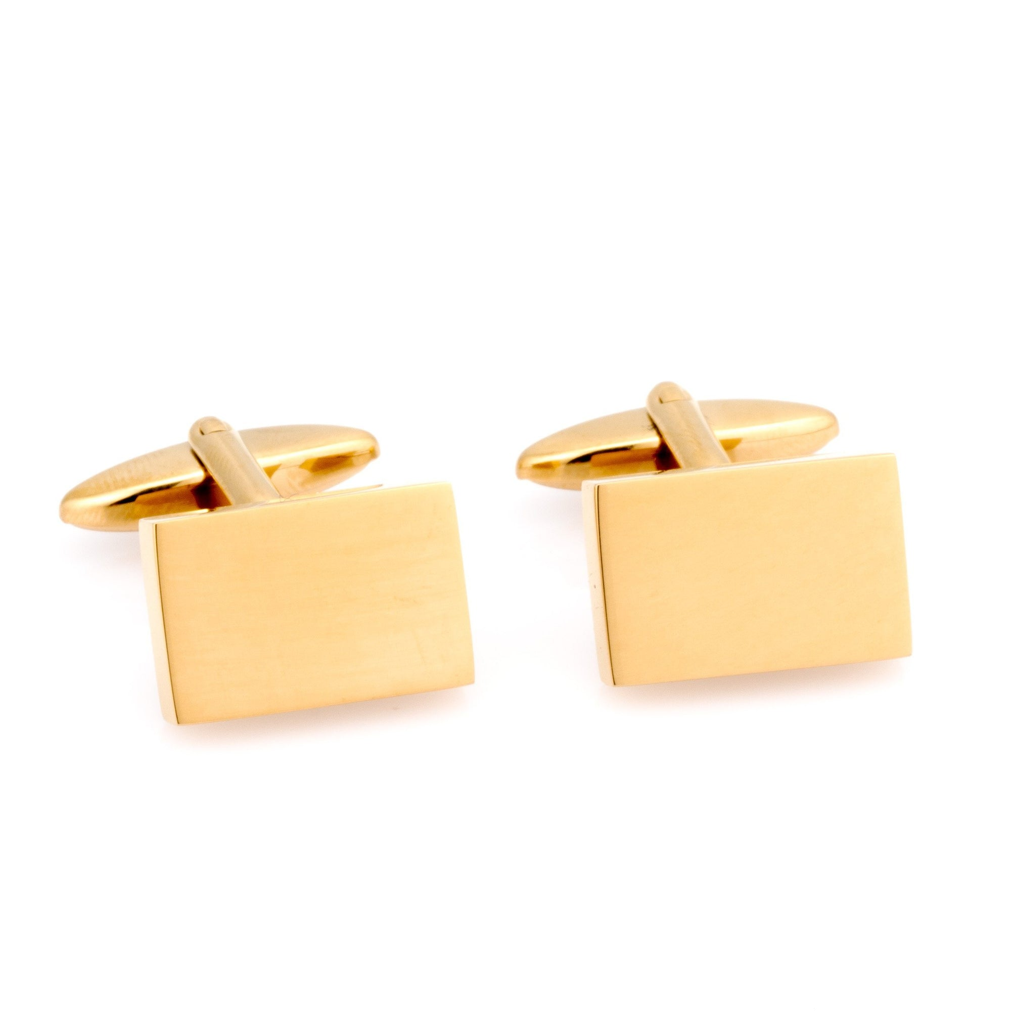 Shiny Gold Rectangle Engraveable Cufflinks Classic & Modern Cufflinks Clinks Australia Default