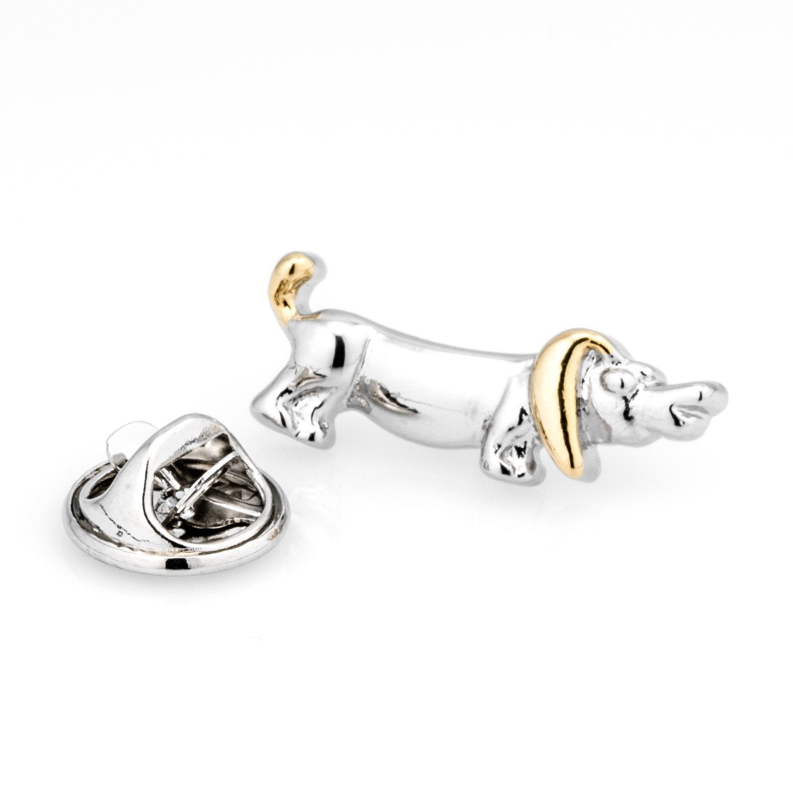 Sausage Dog Lapel Pin in Gold and Silver Lapel Pin Clinks Australia Default