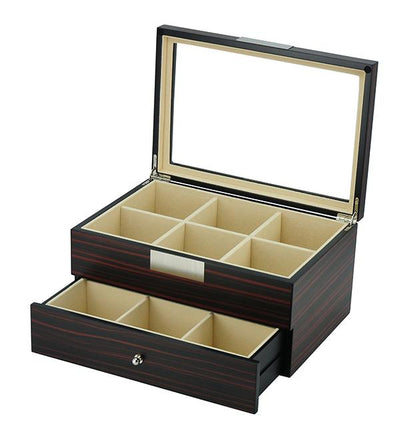 Ebony Wooden Tie Box for 12 Storage Boxes Clinks