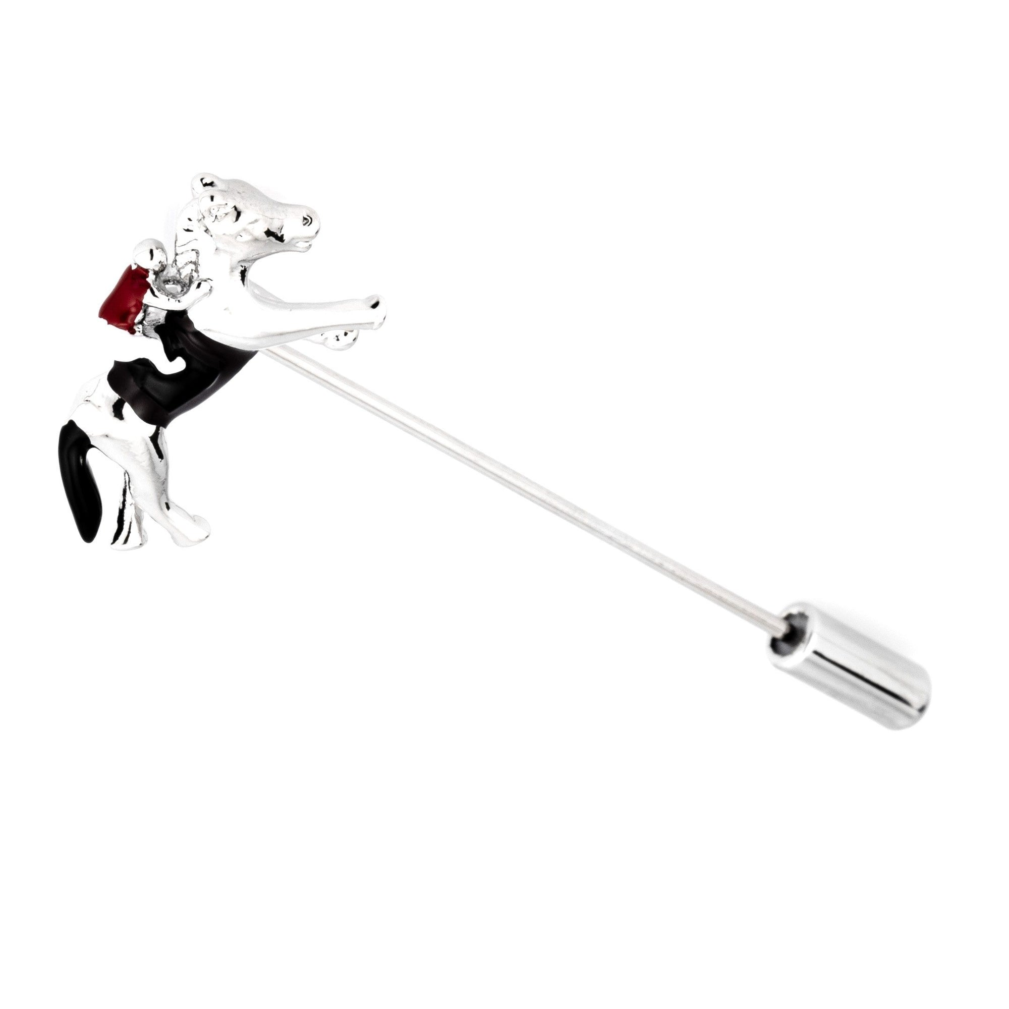 Colour Melbourne Cup Horse Racing Silver Stick Pin