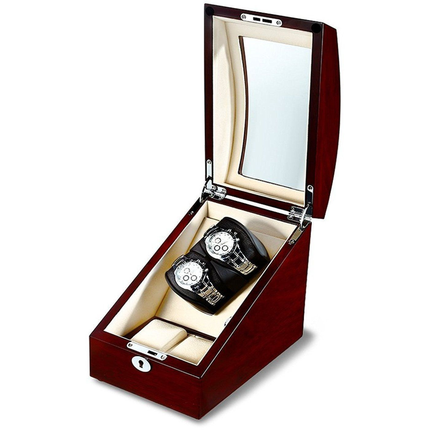 Watch Winder Box for 2 + 2 Watches in Mahogany Storage Boxes Clinks Australia