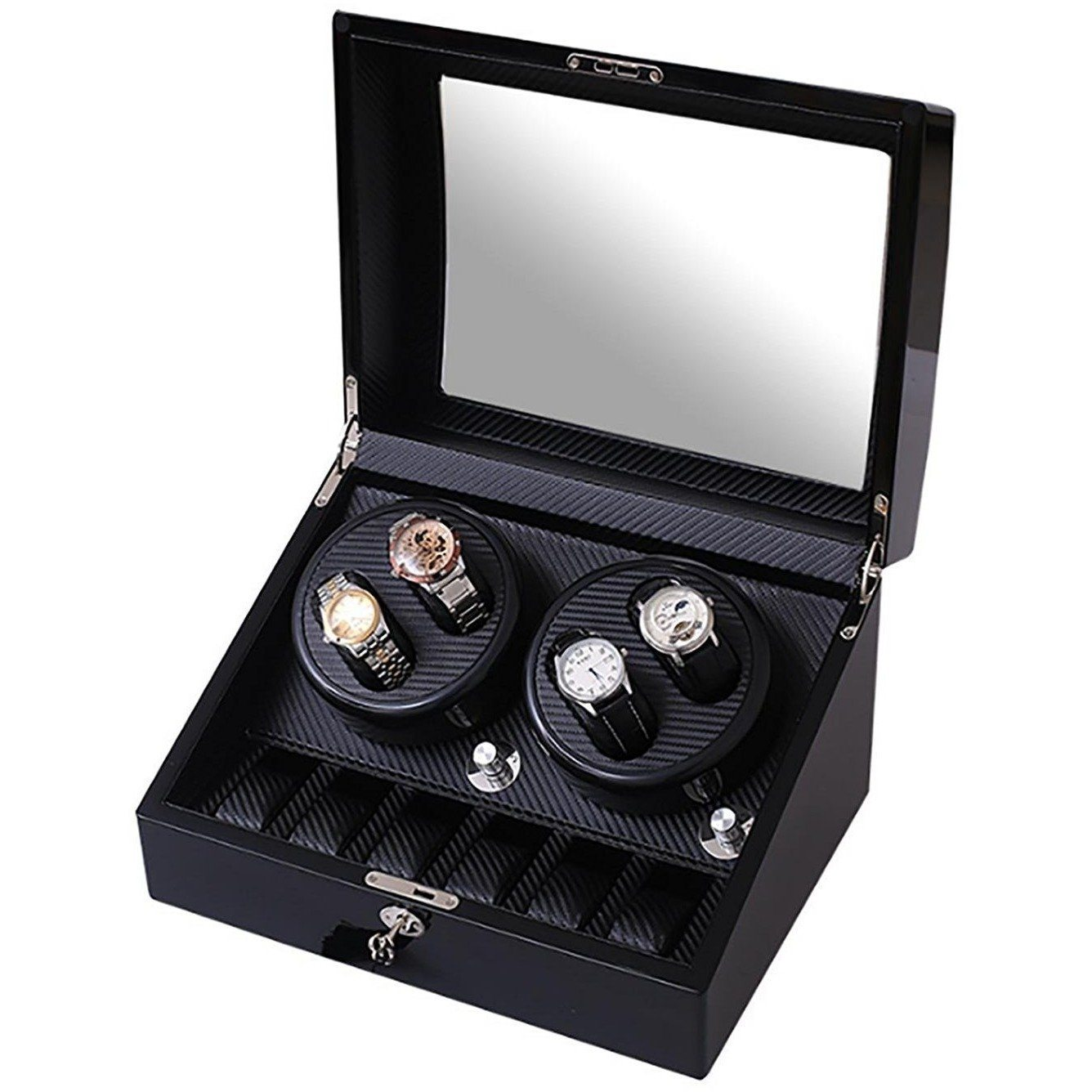Watch Winder Box for 4 + 6 Watches in Black, Watch Winder Boxes, Cuffed.com.au, CB9040, $0.00