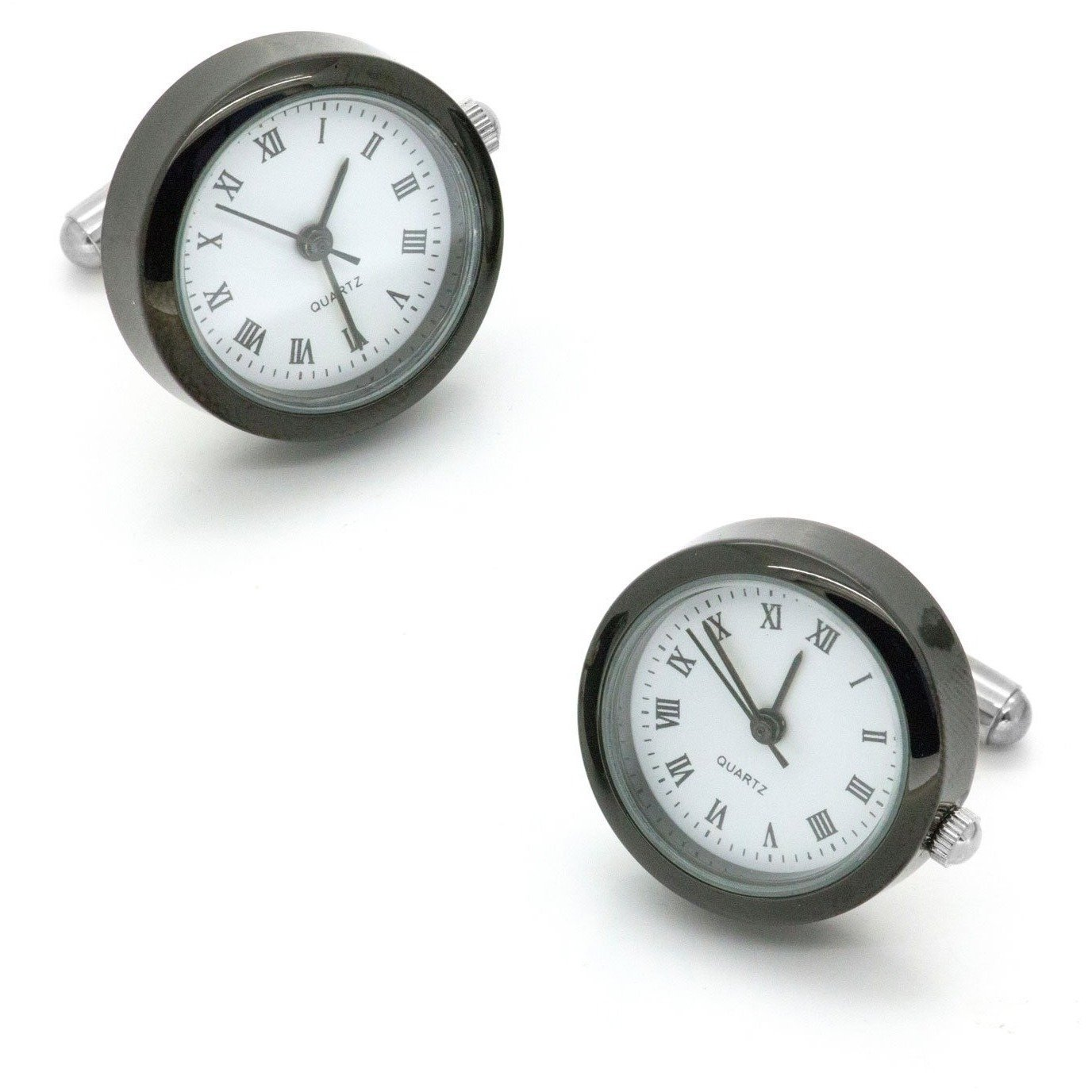 White and Gunmetal Working Quartz Watch Cufflinks, Novelty Cufflinks, Cuffed.com.au, CL5554, $59.00