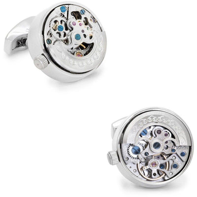 Working Kinetic Watch Movement Cufflinks Silver Novelty Cufflinks Clinks Australia Working Kinetic Watch Movement Cufflinks Silver