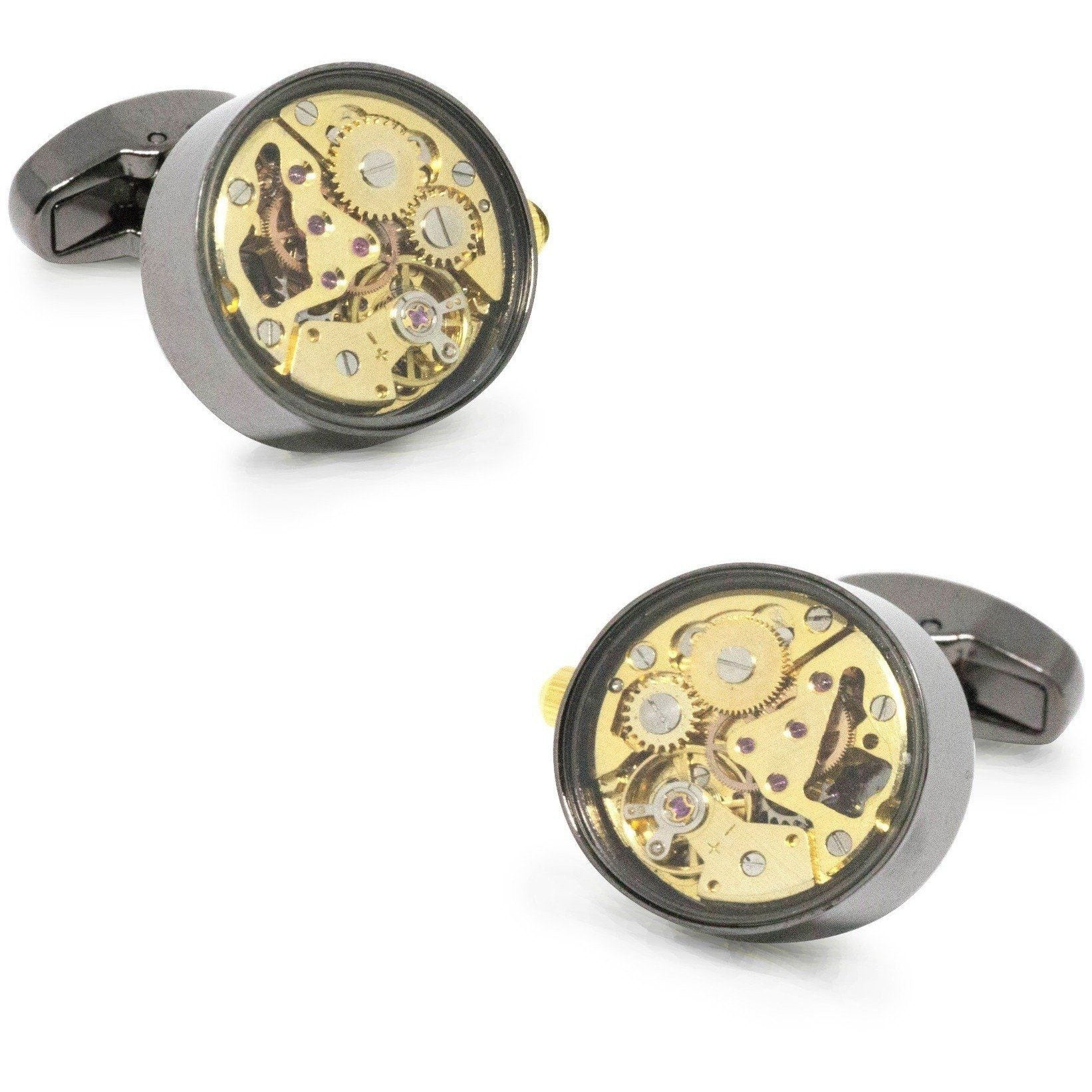 Working Watch Movement Steampunk Cufflinks Gunmetal and Gold, Novelty Cufflinks, Cuffed.com.au, CL5561, $79.00