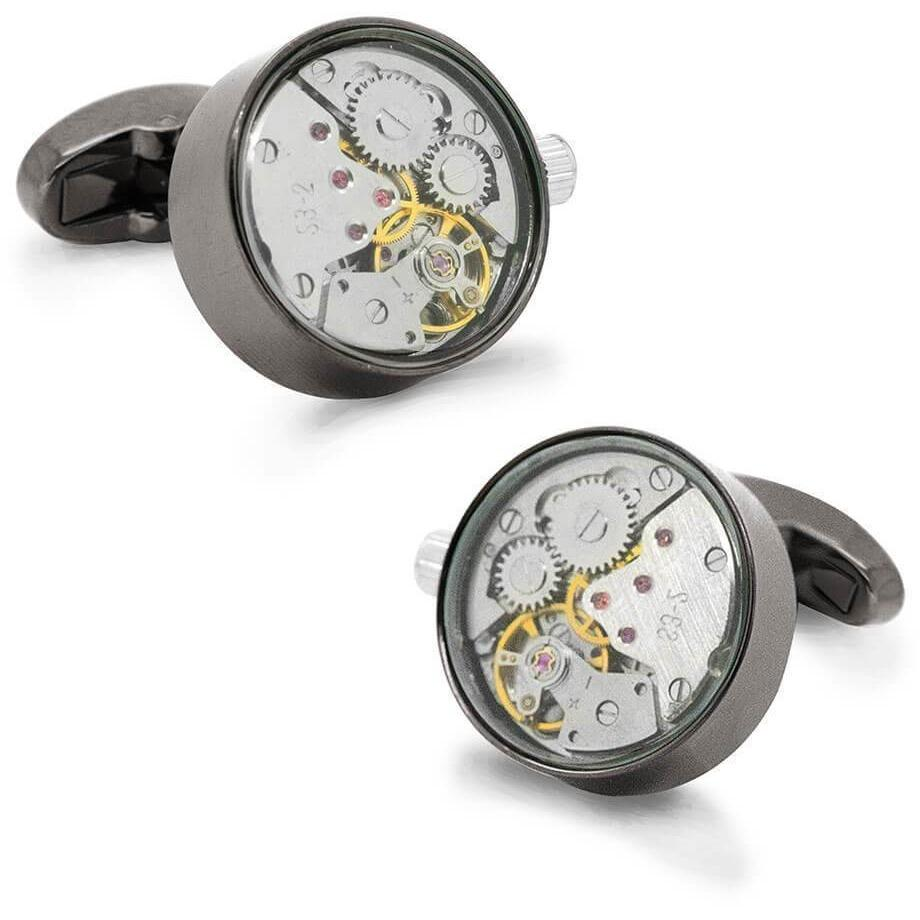 Working Watch Movement Steampunk Cufflinks Gunmetal and Silver Novelty Cufflinks Clinks Australia Working Watch Movement Steampunk Cufflinks Gunmetal and Silver