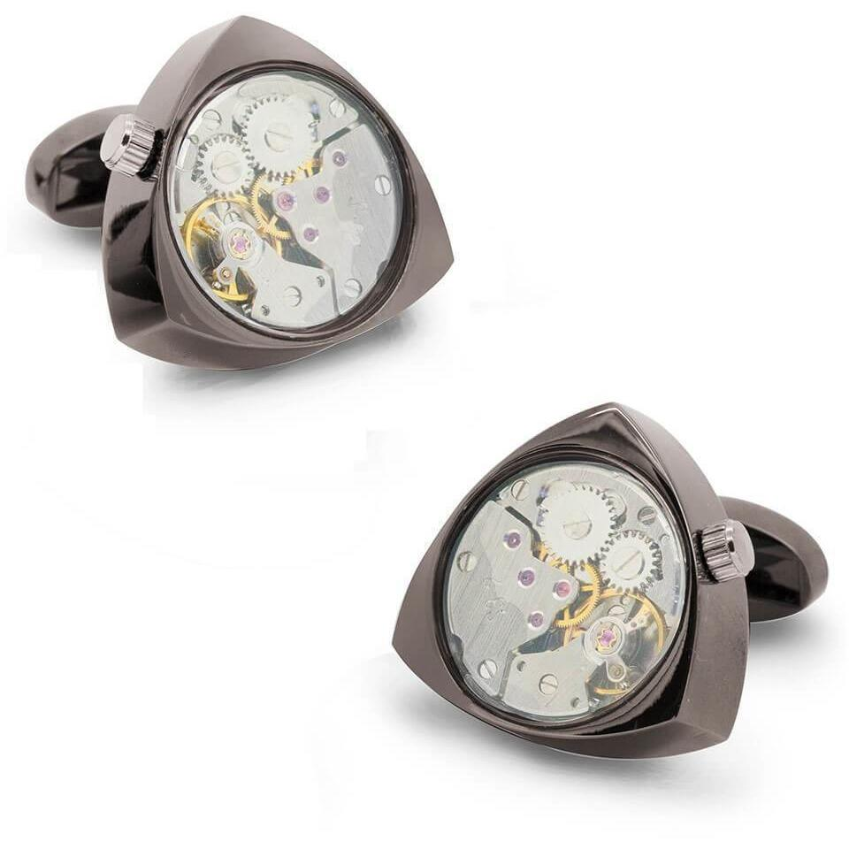 Working Watch Movement Steampunk Cufflinks Gunmetal and Silver Reuleaux, Novelty Cufflinks, Cuffed.com.au, CL5567, $79.00