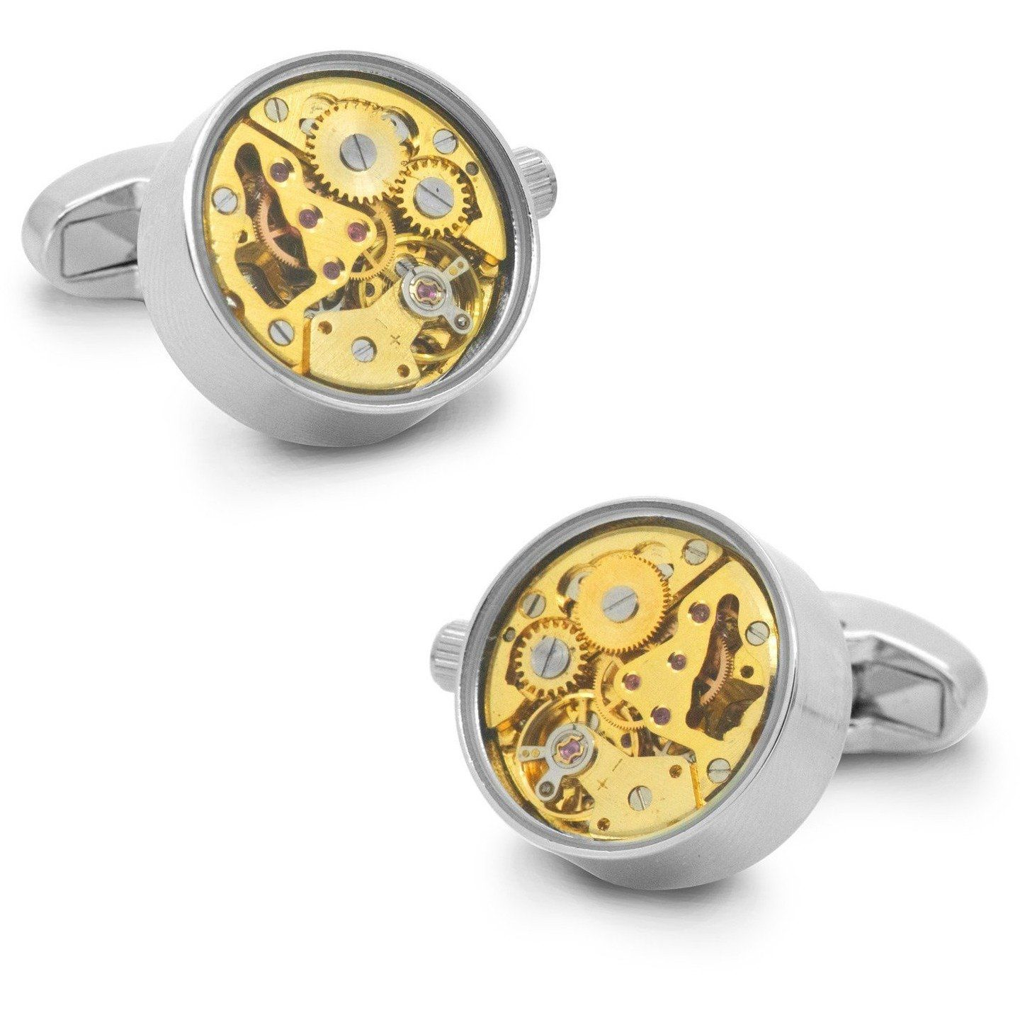 Working Watch Movement Steampunk Cufflinks Silver and Gold, Novelty Cufflinks, Cuffed.com.au, CL5564, $79.00