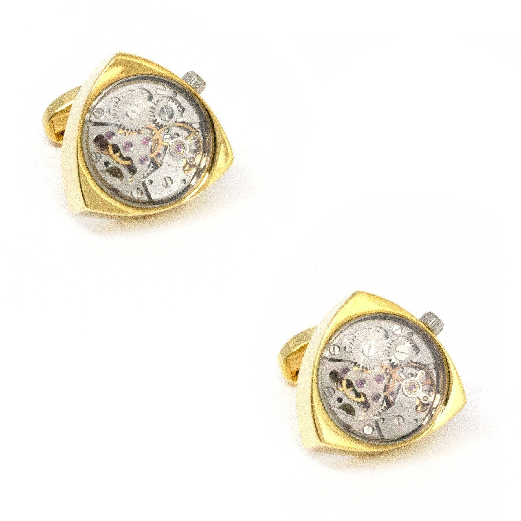 Working Watch Movement Steampunk Reuleaux Cufflinks Gold and Silver, Novelty Cufflinks, Cuffed.com.au, CL5562, $79.00