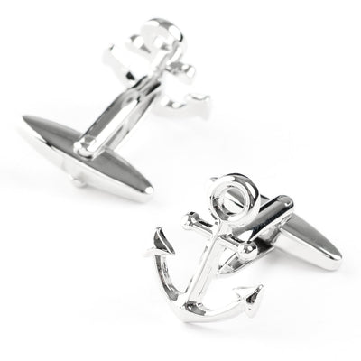 Shiny Silver Ship Anchor Cufflinks Novelty Cufflinks Clinks Australia