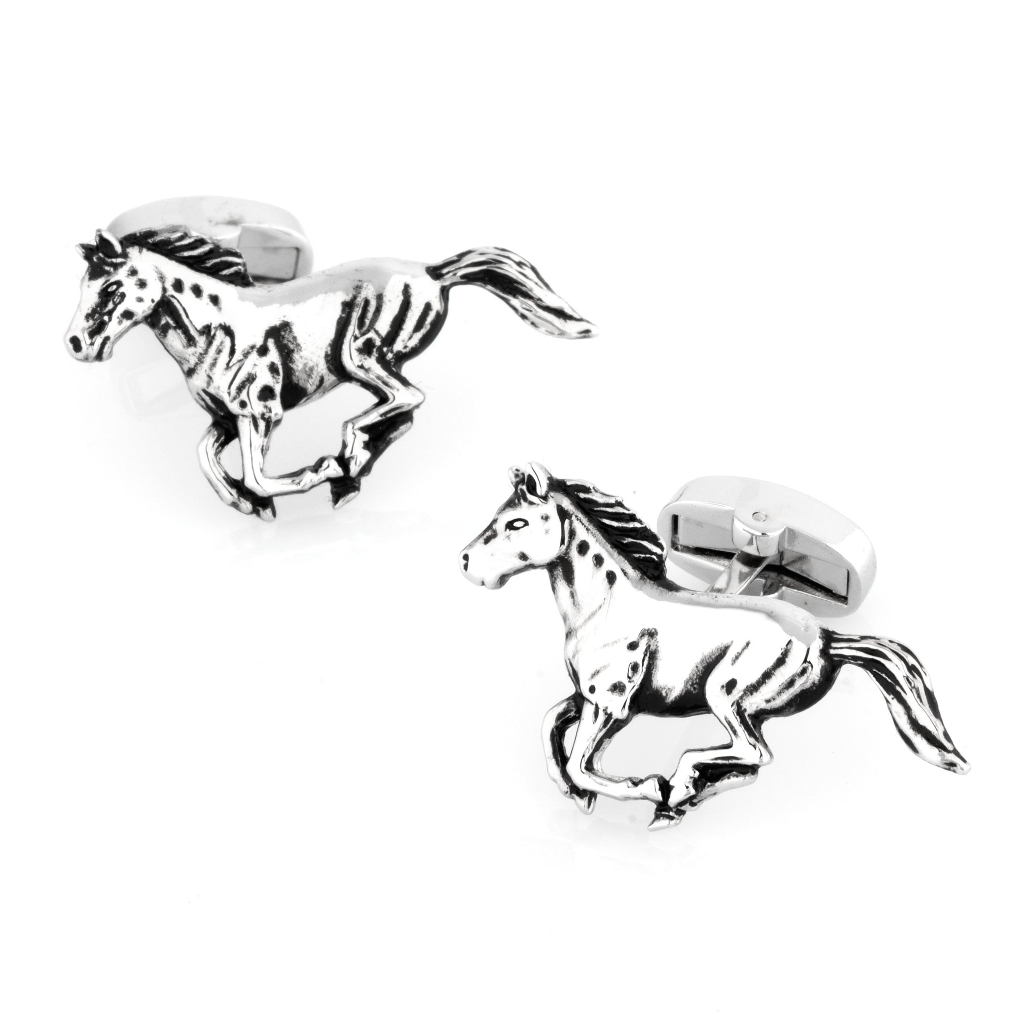 Silver Galloping Horses Cufflinks, Novelty Cufflinks, Cuffed.com.au, CL7006, Animals, Gambling, Horses, Clinks Australia