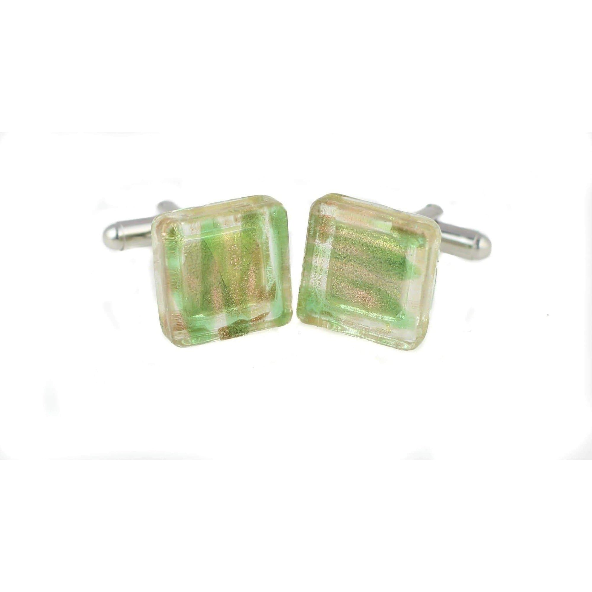 Yellow and Green Patterned Glass Cufflinks, Classic & Modern Cufflinks, Cuffed.com.au, ZBC3064, $36.30