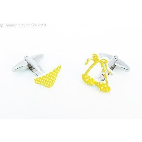 Yellow Polka Dot Bikini Cufflinks, Novelty Cufflinks, Cuffed.com.au, ZBC3071, $46.20