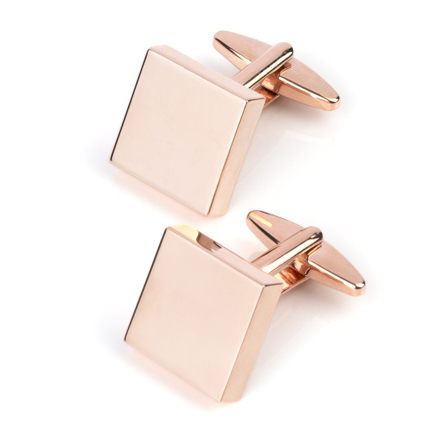 Rose Gold Square Engravable Cufflinks Classic & Modern Cufflinks Clinks Australia