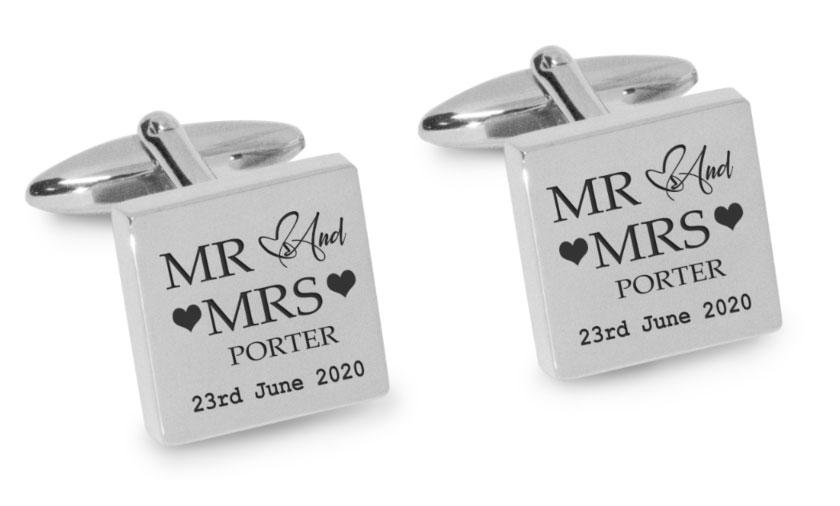 Mr Mrs Last Name Love Heart with Date Engraved Wedding Cufflinks Engraving Cufflinks Clinks Australia Silver Black