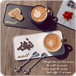 Venus Coffee Cup Set Breakfast & Low Tea Happy Hour Cup,Tray,Spoon