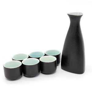 Japanese Sake Set, Traditional Ceramics Black Sake Set 1 Pot and 6 Cups