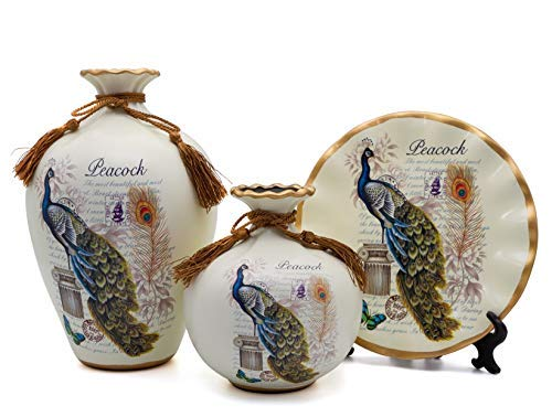 NEWQZ Classical Ceramic Vases Set of 3-Piece Chinese Vases for Home Decor Style: Peacock Pattern