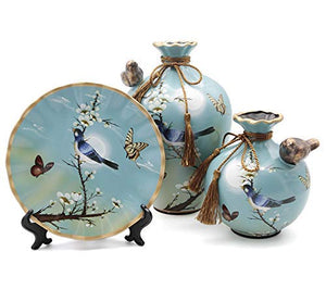 NEWQZ Decorative Ceramic Vases Set of 3 Piece, Chinese Classical Vases for Home Decor,Color: Blue