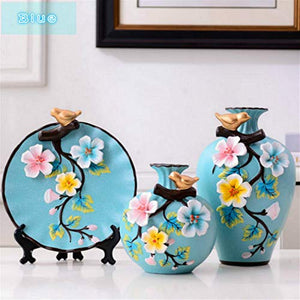 NEWQZ Chinese Vases, Classical and Stylish Decorative Ceramic Vase, Set of 3 Blue Vases, Home Decor