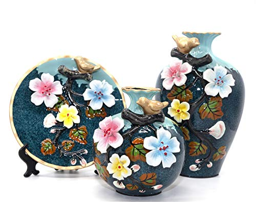 NEWQZ Classical Decorative Ceramic Vase Set of 3 Chinese Vases for Home Decor (aquablue)