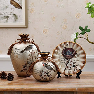 NEWQZ China Vase, Ceramic Vase Set of 3 Pieces, Chinese Vases for Home Decor, Color: Silver Ash