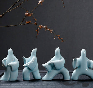 NEWQZ Chinese Porcelain Kungfu tai chi Figurines for Home Decor Tabletop Decorations,Creative Gifts