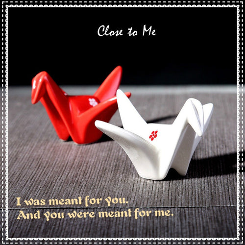 Close To Me Porcelain Paper Crane 2 Pieces Figurine Set - Home Decor Accessories