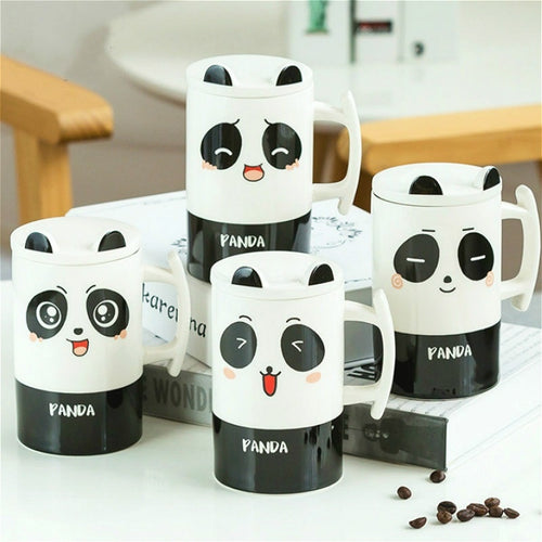 Cute Expression Cartoon Panda Mug with Lid
