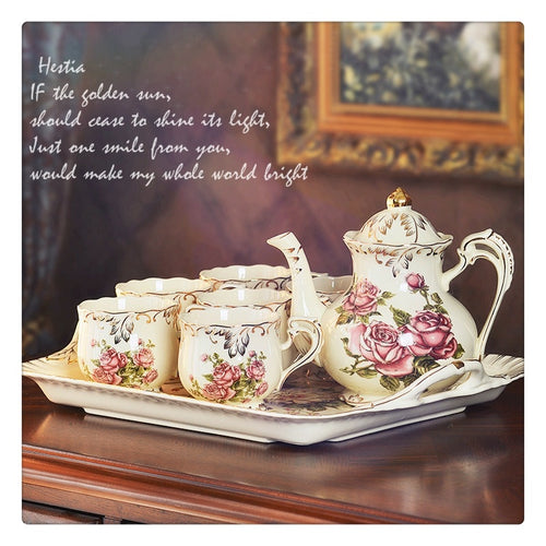 Hestia Coffee Pot Set Breakfast & Low Tea Happy Hour (Tea Pot,Cup and Tray)