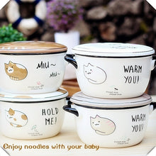 Cute Kitty Large Noodle Bowl,Big Cute Cartoon Ceramic Soup Bowl with Lid and Handle