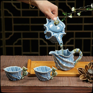 NEWQZ Sky Blue Glaze Conch Shaped Kung Fu Tea Set,1 Pot 6 Cup,Including Tea Pitcher and Tea Strainer
