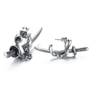 Punk Style Sword Shaped Earrings for Cool Men